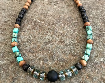 Bohemian Jewelry, Bohemian Choker Necklace, Beaded Necklace for Women, Choker Necklace for Men, Turquoise Necklace, Turquoise Onyx Choker