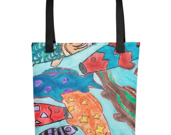 Colorful Koi Fish Kites - Amazingly beautiful full color tote bag with black handle featuring children's donated artwork.
