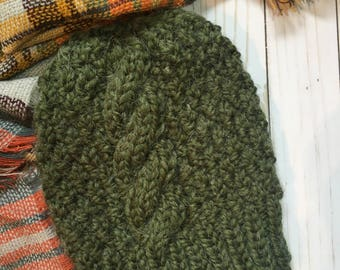 Ready To Ship:CHUNKY CABLE knit Beanie-Green