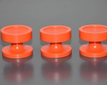 set of 3 buttons, handles, drawer or door in Orange, France, vintage 70's