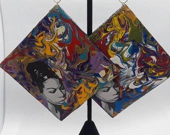Mixed Media Nina Simone Earrings
