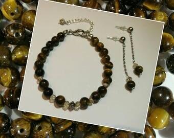 Tiger eye jewellery set - bracelet and earrings