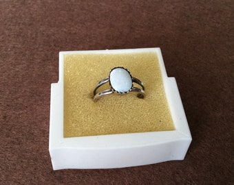 Vintage small white opal ring
