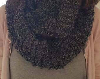 Chunky Knit Infinity Scarf - Charcoal Gray