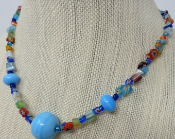 Millefiori Glass Chips and Large Blue Glass Bead Necklace and Bracelet Set