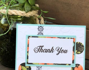 Hand stamped Thank you card Set of 4