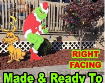 GRINCH Stealing CHRISTMAS Lights Yard Art Decor Right Facing Grinch & Max The Dog Free Shipping  Grinch Right Facing