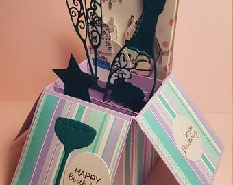 Handcrafted Birthday Card, Champagne glasses, Dressing Room, lilac & green