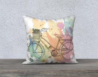 Decorative pillow cover, pillow for kids, nursery illustration, yellow, black, white, cushion, pillows, bicycle