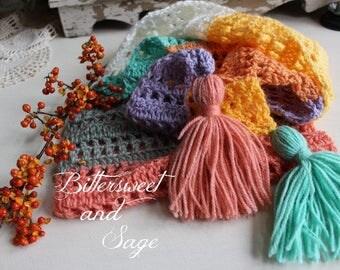 Crocheted Scarf, Mandala Yarn Scarf, Scarf with Tassels, Handmade Scarf, Pixie Scarf, Lightweight Scarf, Trendy  Scarf, Women's Gift, Cozy