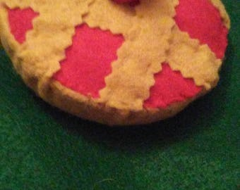 "Handmade Cherry Pie Ornament/Decor 4"""