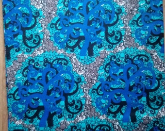 Ankara / Wax fabric - Blue and grey - sold by the meter