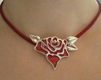 Valentine's gift-Valentine's Red Rose Pendant Necklace