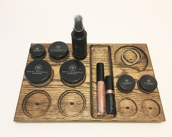 Large Mineral Makeup Tray - Red oak wooden mineral makeup organizer for counter or drawer - Perfect for Young Living Savvy Minerals Makeup