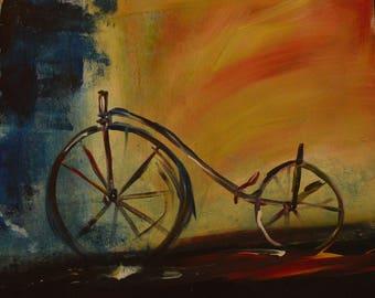 22.5x27.5in Custom Vintage Bicycle Painting