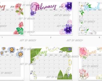 2018 Printable Calendar, Watercolor Floral Wall Calendar, 12 Months Letter Size 2018 Calendar