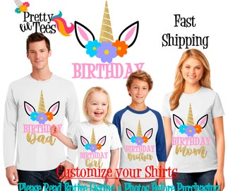 UNICORN Birthday Girl Theme Family WHITE Shirts For the Entire Family Mom Dad Brother and More T-shirts Long/ Short sleeve Raglan Rainbow