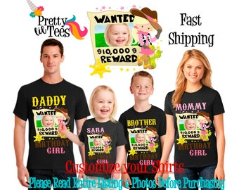 COWGIRL with your Child's PICTURE Birthday Girl Theme Family BLACK Shirts For the Entire Family Mom Dad Brother and More T-shirt Cow Girl
