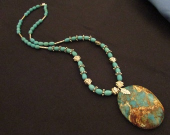 Magnesite / silver metal necklace 24""