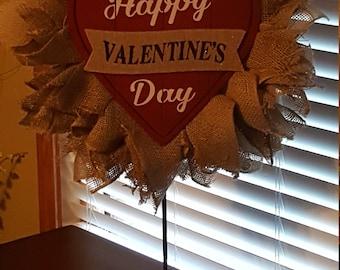 Valentine Petal Wreath, Happy Valentines Day, Burlap, Petal