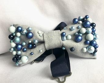 SWAROVSKI glass pearls beaded women's bow tie/ Denim bow tie / Embellished bow tie/ Luxury bow tie/ Valentine's Day gift for her