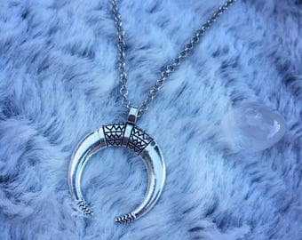 Crescent Boho Moon Necklace Detailed