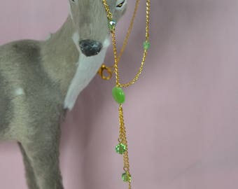 Long fancy gold plated necklace with glass beads and Swarovski crystals