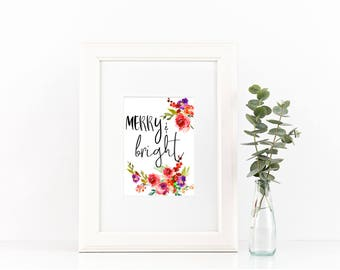 MERRY & BRIGHT holiday print