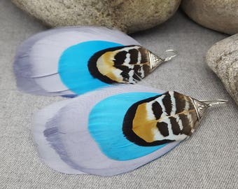 Feather Earrings. Turquoise Earrings. Organic Earrings. Natural feathers Earrings. Silver Earrings. INKACREATIONS .SKY Collection