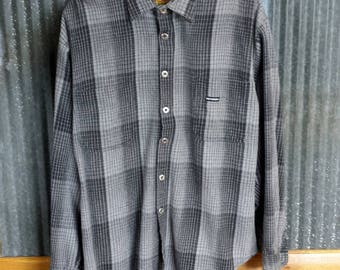 Vintage Harley Davidson Shirt, Grey & Black Mens Plaid XL Shirt, Motorcycle Clothes, Harley Plaid Shirt, Biker Gift, Vintage Clothing