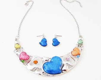Heart Necklace and Earrings, Colourful Heart Necklace Set, Heart Jewellery Set, Multi Colour Jewelry Set, Silver Heart Necklace Set