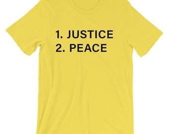Justice Before Peace Short-Sleeve Unisex T-Shirt - Black Print