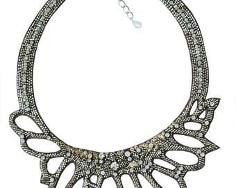 NECKLACE embroidered beads and rhinestones