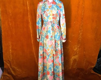 Vintage 1970s, Floral Print, Psychedelic Print, Long Dress, Womens Dress, Button Up Maxi Dress