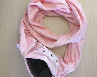 Sugar Glider Bonding Scarf Double Loop - Sugar Glider Bonding Pouch - Rat Bonding Pouch - Bonding Pouch - Pink Minky With Stars