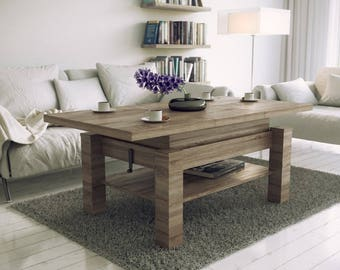 Solid Light Oak Coffee Table with Large Open Shelf