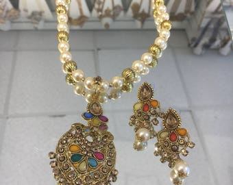 Indian long multi colour pendent with pearls necklace and earrings