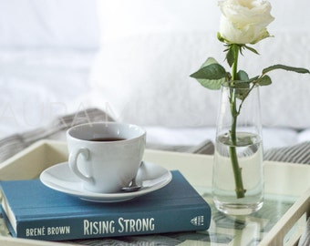 Bed, Book, Coffee, White Rose / Styled Stock Photography / Business Branding Image / JPEG Digital Image / Digital Background