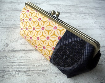 Gamaguchi Purse with Japanese Kimono fabric, Size Large, Yellow