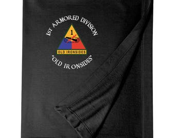 1st Armored Division Embroidered Blanket-3947