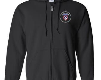 1st Sustainment Command-COSCOM (Airborne) Embroidered Hooded Sweatshirt w/ Zipper-7620