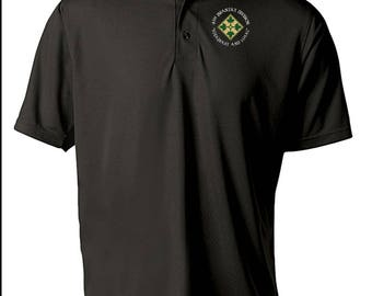 4th Infantry Division Embroidered Moisture Wick Polo Shirt -4045