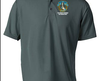 7th Cavalry Regiment Embroidered Moisture Wick Polo Shirt -4263