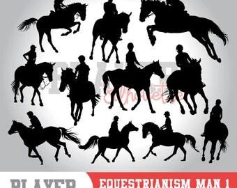 Equestrianism Men SVG, Equestrianism Sport svg, Equestrianism digital clipart, athlete silhouette, Equestrianism Men, cut file, A-031