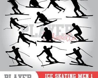 Ice Skating Men SVG, Ice Skating Sport svg, Ice Skating digital clipart, athlete silhouette, Ice Skating Men, cut file, design, A-041