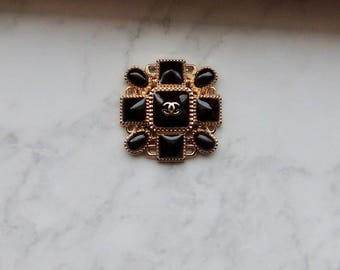Chanel Inspired Large Black & Gold Button