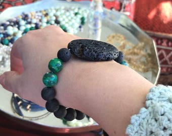 Natural lava stone and silver bead bracelet