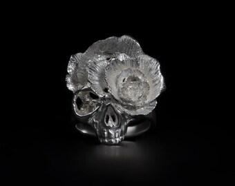 Skull ring,Flower ring,art ring,Silver Jewelry,art jewelry,handmade,Elegant ring,personality,cool ring