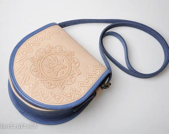 Round crossbody bag, blue white bag, genuine leather bag, tooled leather purse, shoulder leather bag, hot tooled leather, unigue bag for her