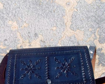 Small Blue Moroccan Handmade Embossed Leather Cross body Messenger Bag